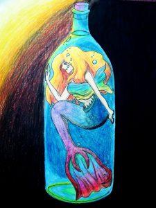 Mermaid in a bottle, but DeviantArt user lianaillo